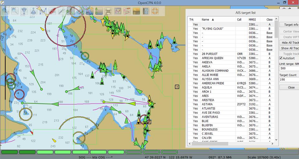 Screenshot van OpenCPN met dAISy als AIS-ontvanger